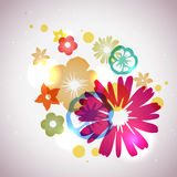 Vector Beautiful Flowers Background. Abstract background with simple flowers and glitters stock illustration