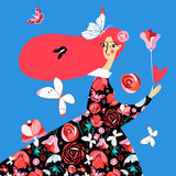Vector beautiful girl. With butterflies on a blue background Stock Photography