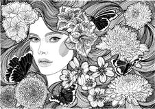 Girl and black and white flowers and butterflies stock images