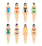 Vector Beautiful girls in Color Bathing Suits Set. stock illustration