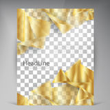 Vector Beautiful Gold Satin Flyer. Template flyers design. Yellow Triangles. business brochure Royalty Free Stock Photo