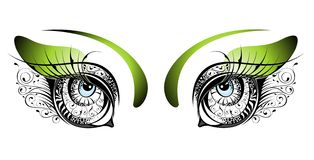 Vector beautiful green floral eyes Stock Image