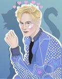 Vector beautiful guy blond cat Stock Photos