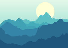 Vector beautiful landscape, blue mountains and sunrise. Nature b Stock Photos