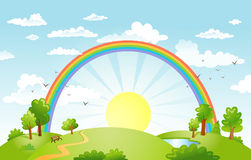 Vector beautiful landscape with rainbow. Royalty Free Stock Photo