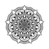 Vector beautiful mandala. Black and white pattern for design and painting Royalty Free Stock Image