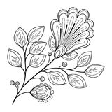 Vector Beautiful Monochrome Contour Flower Stock Photo