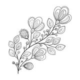 Vector Beautiful Monochrome Contour Flower Stock Image