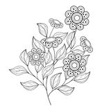 Vector Beautiful Monochrome Contour Flower Stock Photography