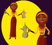 Vector - The beautiful Muslim woman in a hijab isolate on white background. Arab girl dressed in traditional costume. Stock Images