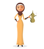 Vector - beautiful Muslim woman holding an Arabic coffee pot in a hijab isolate on white background. Vector illustration Royalty Free Stock Images
