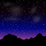 Vector Beautiful night landscape with stars and silhouette mountain Royalty Free Stock Images