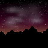 Vector Beautiful night landscape with stars and silhouette mountain Royalty Free Stock Photography