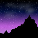 Vector Beautiful night landscape with stars and silhouette mountain Royalty Free Stock Photo