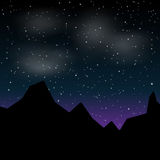 Vector Beautiful night landscape with stars and silhouette mountain Stock Photos