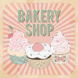 Vector beautiful poster in retro design with cupcakes. Stock Image