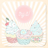 Vector beautiful poster in retro design with delicios cupcakes. Royalty Free Stock Photography