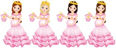 Vector Beautiful Pregnant Women Dressed as Princesses. Vector pregnant women with various hair colors. Vector pregnant woman expecting little princess Stock Images