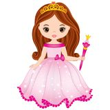 Vector Beautiful Princess with Magic Wand in Pink Dress. Vector beautiful princess in pink dress holding magic wand. Vector cute little girl. Princess vector royalty free illustration
