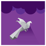 Vector Beautiful purple sky  clouds falcon silhouette Royalty Free Stock Images
