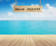Vector beautiful sea view and wood planks floor. Beautiful sea view and wood planks floor background, Vector illustration design Stock Image