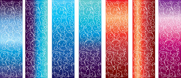 Vector. Beautiful set backgrounds with curls. Beautiful background. Frosty pattern on the glass at different times of the day Royalty Free Stock Images