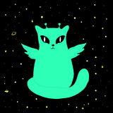 Vector beautiful space alien cat Stock Photography