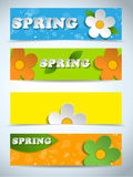 Beautiful Spring Flowers Set of Banners Royalty Free Stock Photos