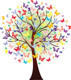 Vector beautiful spring tree, consisting of butterflies Royalty Free Stock Image