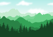 Vector beautiful summer landscape, green mountains with trees si Royalty Free Stock Photos