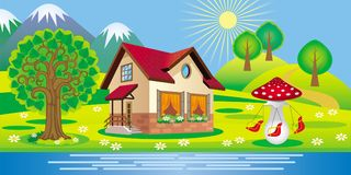 Beautiful summer landscape with a house and children`s swings. Vector beautiful summer landscape with a house and children`s swings in the form of mushroom Stock Photo