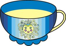 Vector beautiful sun cup of tea. Stock Image
