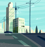 Vector beautiful sunrise over cartoon city with highway. Stock Photography