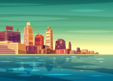 Vector beautiful sunrise over cartoon city with lake, river or ocean. Stock Photos