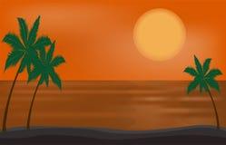 Vector beautiful sunset on the beach sea or ocean Royalty Free Stock Photos