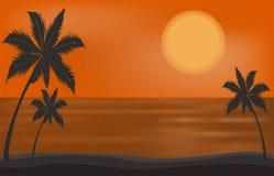 Vector beautiful sunset on the beach  sea or ocean Stock Photos