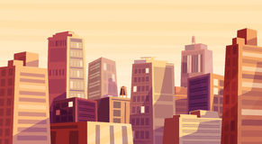Vector beautiful sunset over cartoon city. Royalty Free Stock Image