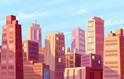 Vector beautiful sunshine over cartoon city. Stock Photos