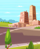 Vector beautiful sunshine over cartoon city with highway. Stock Photos