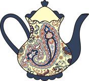 Vector beautiful teapot (cup of tea). Paisley elements. Royalty Free Stock Photos