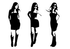 Vector beautiful woman in dress silhouette set Royalty Free Stock Photo