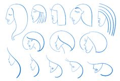 Beautiful woman heads set. Vector beautiful woman faces, logo style hand drawn heads, beauty icons Stock Photography