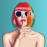 Vector beautiful woman wearing colorful wig and white sunglasses Royalty Free Stock Image