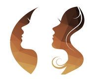 Vector beautiful women and girl silhouettes Royalty Free Stock Image