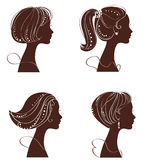 Vector beautiful women silhouettes Stock Photo