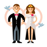 Vector Beautiful young bride and groom couple. Happy newlyweds. Flat style colorful Cartoon illustration. Royalty Free Stock Photos