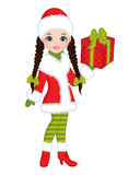 Vector Beautiful Young Girl with Christmas Gift Royalty Free Stock Image
