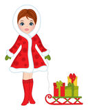 Vector Beautiful Young Girl with Sledge and Christmas Gifts Stock Photos