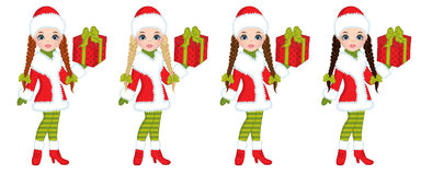 Vector Beautiful Young Girls with Christmas Gifts Royalty Free Stock Photography