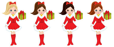 Vector Beautiful Young Girls with Christmas Gifts. Vector beautiful young girls with various hair colors. Vector girls with Christmas gifts. Christmas girls Stock Images